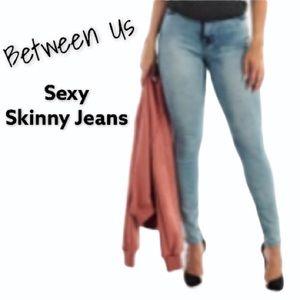 Distress Light Wash Skinny Jeans